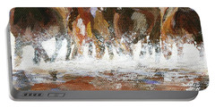 Portable Battery Charger featuring the painting Splashing Around by Jamie Frier