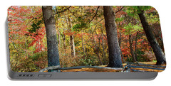 Split Rail Fence And Autumn Leaves Portable Battery Charger