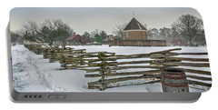 Split Rail Fence In Front Of Colonial Williamsburg Magazine Portable Battery Charger