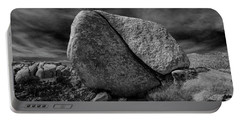 Portable Battery Charger featuring the photograph Split Rock In Black And White At Joshua Tree National Park by Randall Nyhof