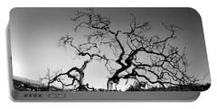 Split Single Tree On Hillside - Black And White Portable Battery Charger
