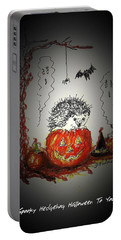 Spooky Hedgehog Halloween Portable Battery Charger by Denise Fulmer