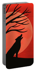 Spooky Wolf Tree Portable Battery Charger