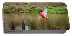 Spoonbill In Flight Portable Battery Charger