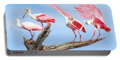 Spoonbill Party Portable Battery Charger by Mark Andrew Thomas