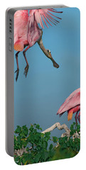 Spoonbills Greeting Portable Battery Charger by Tim Fitzharris