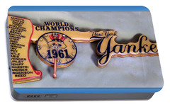 Sports Baseball 1961 Ny World Champions Clock Portable Battery Charger by Thomas Woolworth