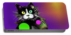 Portable Battery Charger featuring the painting Spot Dizzycat by DC Langer