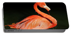 Spotlight On A Bathing Flamingo Portable Battery Charger