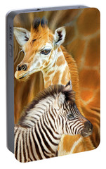 Portable Battery Charger featuring the mixed media Spots And Stripes - Giraffe And Zebra by Carol Cavalaris