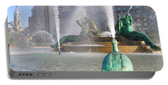 Portable Battery Charger featuring the photograph Spraying Water At Swann Fountain - Philadelphia by Bill Cannon