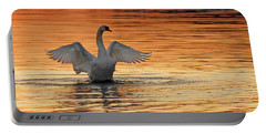 Spreading Her Wings In Gold Portable Battery Charger by Randall Branham