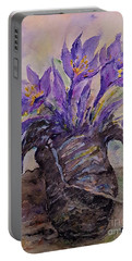 Portable Battery Charger featuring the painting Spring In Van Gogh Shoes by AmaS Art