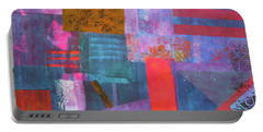 Portable Battery Charger featuring the mixed media Spring Abstract by Riana Van Staden