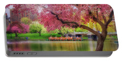 Portable Battery Charger featuring the photograph Spring Afternoon In The Boston Public Garden - Boston Swan Boats by Joann Vitali