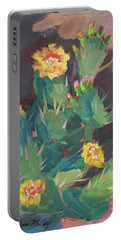 Portable Battery Charger featuring the painting Spring And Prickly Burst Cactus by Diane McClary