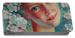 Portable Battery Charger featuring the painting Spring B by Elena Oleniuc