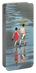 Spring Beach Walk  Portable Battery Charger by Christy Ricafrente