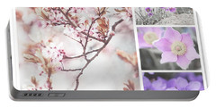 Portable Battery Charger featuring the photograph Spring Bloom Collage 1. Shabby Chic Collection by Jenny Rainbow