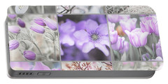 Portable Battery Charger featuring the photograph Spring Bloom Collage. Shabby Chic Collection by Jenny Rainbow