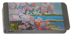 Portable Battery Charger featuring the painting Spring Blooms By Sea by Francine Frank
