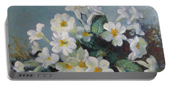 Portable Battery Charger featuring the painting Spring Blooms by Elena Oleniuc