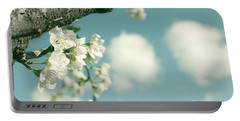 Spring Blossoms And Puffy Clouds Portable Battery Charger