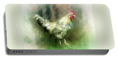Portable Battery Charger featuring the digital art Spring Chicken by Lois Bryan