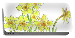 Portable Battery Charger featuring the painting Spring Daffodils by Cathie Richardson