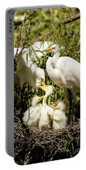 Portable Battery Charger featuring the photograph Spring Egret Chicks by Robert Frederick