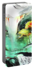Portable Battery Charger featuring the painting Spring Fall by Anil Nene