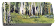 Portable Battery Charger featuring the painting Spring Field by Laurie Rohner