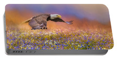 Spring Flight Bald Eagle Art Portable Battery Charger by Jai Johnson