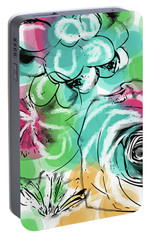 Portable Battery Charger featuring the mixed media Spring Floral 9- Art By Linda Woods by Linda Woods