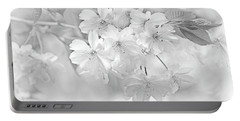Portable Battery Charger featuring the photograph Spring Flower Blossoms Soft Gray by Jennie Marie Schell