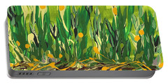 Portable Battery Charger featuring the painting Spring Garden by Holly Carmichael