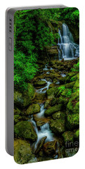 Spring Green Waterfall And Rhododendron Portable Battery Charger