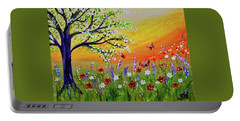 Portable Battery Charger featuring the painting Spring Has Sprung by Sonya Nancy Capling-Bacle