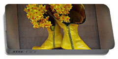 Spring In Yellow Boots Portable Battery Charger