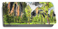 Portable Battery Charger featuring the painting Spring In Yosemite by Terry Banderas