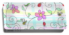 Spring Plaid Portable Battery Charger by Debra Baldwin