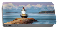 Portable Battery Charger featuring the painting Spring Point Ledge Lighthouse by Christopher Arndt