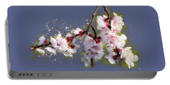 Portable Battery Charger featuring the painting Spring Promise - Apricot Blossom Branch by Menega Sabidussi
