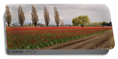 Spring Red Tulip Field Landscape Art Prints Portable Battery Charger