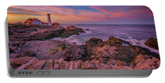 Spring Sunset At Portland Head Lighthouse Portable Battery Charger by Rick Berk