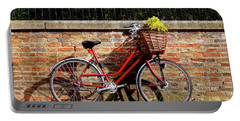 Portable Battery Charger featuring the photograph Spring Sunshine And Shadows - Bicycle In Cambridge by Gill Billington