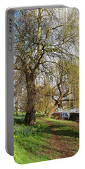 Spring Sunshine On Cambridge Riverbank Portable Battery Charger by Gill Billington