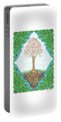 Portable Battery Charger featuring the drawing Spring Tree With Knotted Roots And Knotted Border by Lise Winne