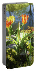Spring Tulips At Lakeside  In Giverny  Portable Battery Charger