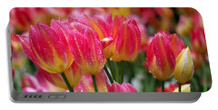 Portable Battery Charger featuring the photograph Spring Tulips In The Rain by Rona Black